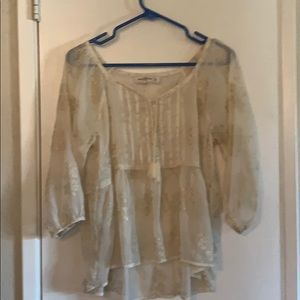 Abercrombie & Fitch cream sheer blouse sz Lrg